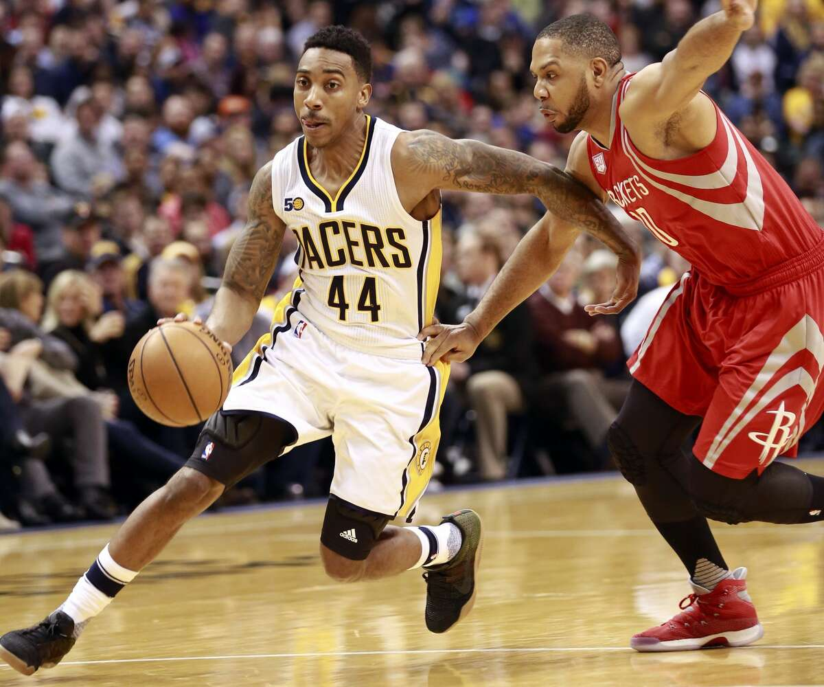 Indiana Pacers guard Jeff Teague (44) drives on Houston Rockets guard Eric Gordon in the second half of an NBA basketball game, Sunday, Jan. 29, 2017, in Indianapolis. Indiana won 120-101. (AP Photo/R Brent Smith)