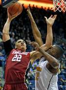 Stanford's Reid Travis elbows California's Kingsley Okoroh in 2nd quarter during Cal's 66-55 win in Pac 12 basketball game at Haas Pavilion in Berkeley, Calif., on Sunday, January 29, 2017.