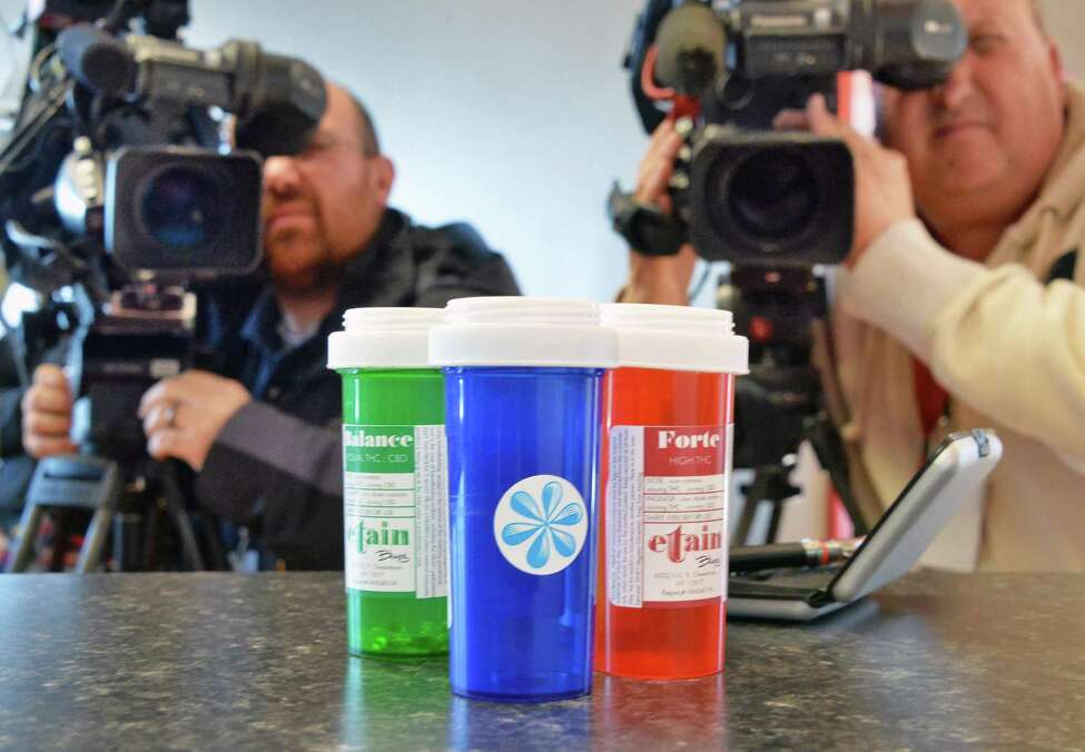 Etain products on display during an Open House at their Albany medical marijuna dispensary on Thursday, Jan. 7, 2016, in Albany, N.Y. (John Carl D'Annibale / Times Union archvie)