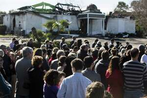 Hundreds of people gather outside the Islamic Center of Victoria for prayers of several faiths and to show support for the muslim community after the mosque burned in Victoria, Texas on January 29, 2017.