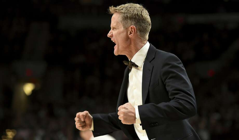 Golden State Warriors head coach Steve Kerr yells out at his team during the fourth quarter of an NBA basketball game against the Portland Trail Blazers in Portland, Ore., Sunday, Jan. 29, 2017. The Warriors won the game 113-111. (AP Photo/Steve Dykes) Photo: Steve Dykes, Associated Press