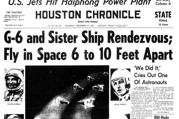 Houston Chronicle front page (HISTORIC) - December 16, 1965 - section 1, page 1 (STATE FINAL)  G-6 and Sister Ship Rendezvous; Fly in Space 6 to 10 Feet Apart. 'We Did It,'  Cries Out One Of Astronauts