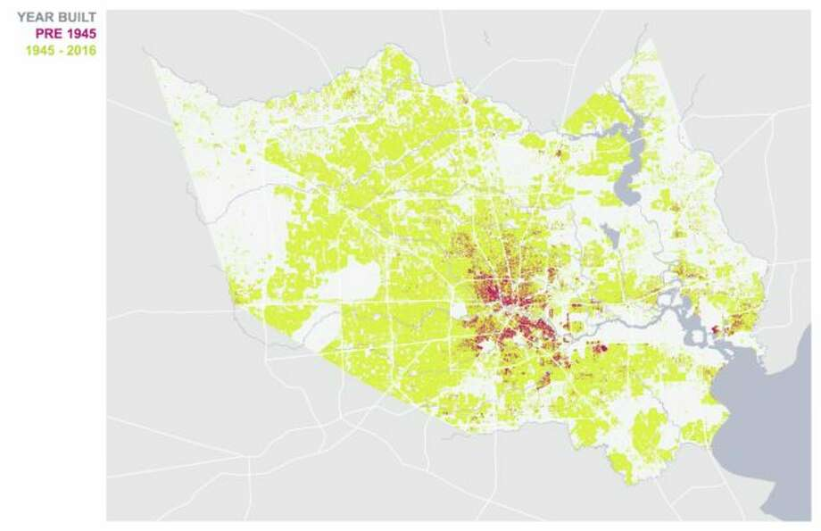 Map of Harris County showing ages of buildings. Buildings built before 1945 are shown in purple. Buildings built after 1945 are shown in yellow. Photo: Courtesy Kinder Institute, Source HCAD.