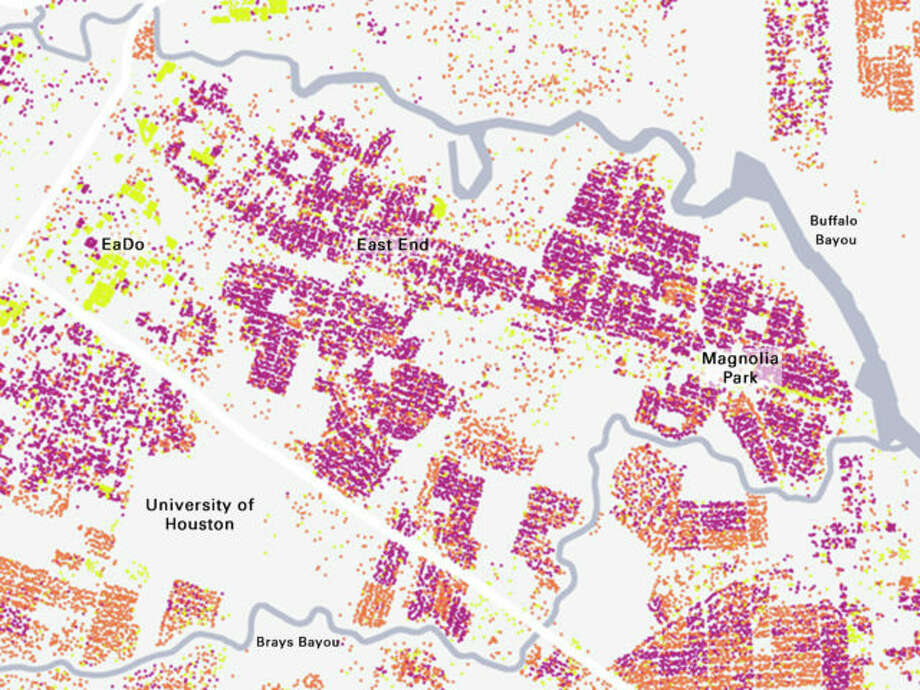 East End detail showing large area of pre-1945 buildings. Photo: Courtesy Kinder Institute, Source HCAD.