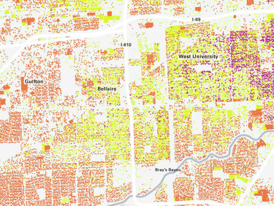 Detail of change in West University, Braes Heights, Bellaire, and Southside Place. Photo: Courtesy Kinder Institute, Source HCAD.
