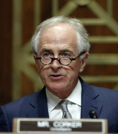 Senate Foreign Relations Committee Chairman Bob Corker, R-Tenn., speaks during a committee business meeting on the nomination of Rex Tillerson to be Secretary of State, Monday, Jan. 23, 2017 in Washington. (AP Photo/Alex Brandon) Photo: Alex Brandon, STF / Associated Press / Copyright 2017 The Associated Press. All rights reserved.