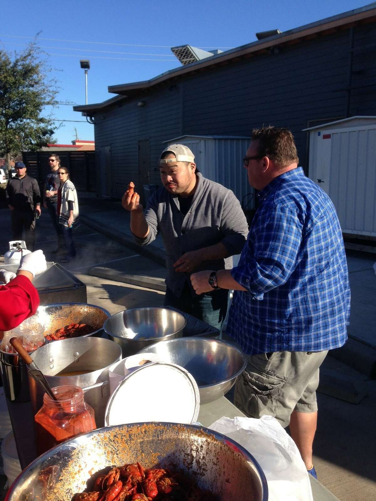David Chang, the chef/founder of Momofuku restaurant group and multiple James Beard Award winner was in Houston over the weekend and was the guest at a crawfish boil at Underbelly on Sunday, Jan. 29. Chang, left, with Underbelly chef/owner Chris Shepherd.