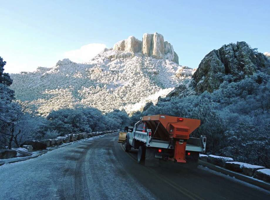 """Brrr! Winter strikes again! A light dusting of snow settled on the Chisos Mountains last night and this morning the roads crew was busy!"" Photo: Courtesy/Facebook"