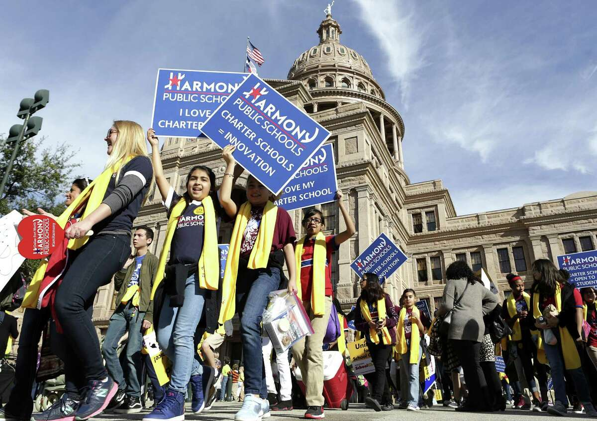Students from Dallas/Fort Worth Harmony Schools arrive with hundreds of other students and parents at the Texas Coalition School Choice Rally in front of the Texas State Capitol, commemorating National School Choice Week on Tuesday, Jan. 24, 2017, in Austin, Texas.