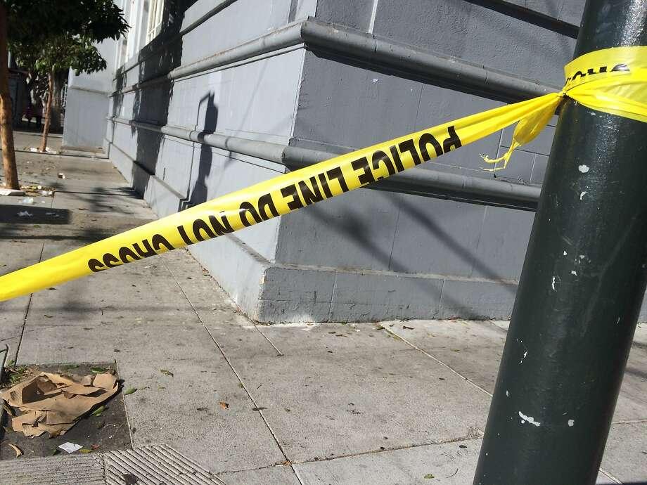 A crash on Thursday near Seventh Avenue and Geary Boulevard left a pedestrian dead, police said. Photo: Sarah Ravani