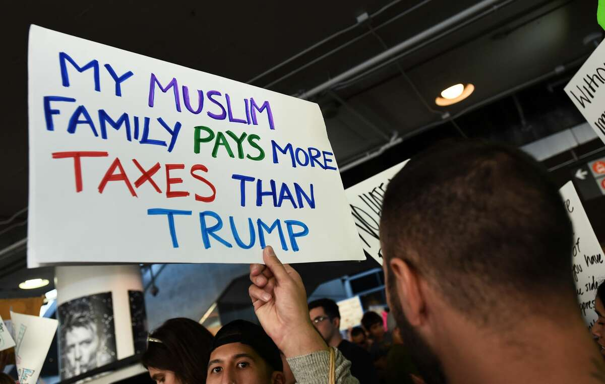 Los Angeles, California Protesters rally against the Muslim immigration ban imposed by U.S. President Donald Trump at Los Angeles International Airport on January 29, 2017 in Los Angeles, California.