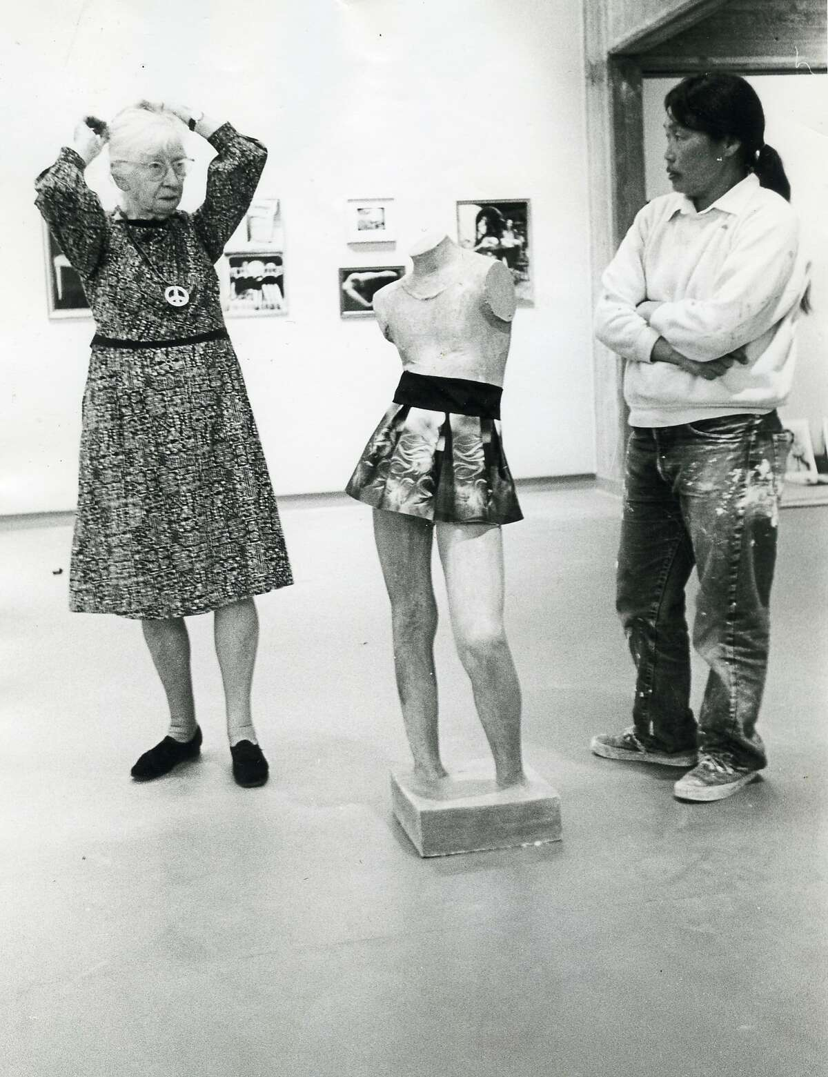 Ruth Asawa and Imogen Cunningham, July 1969, in photography exhibition U.S.A. In Your Heart, curated by Jerry Burchard.