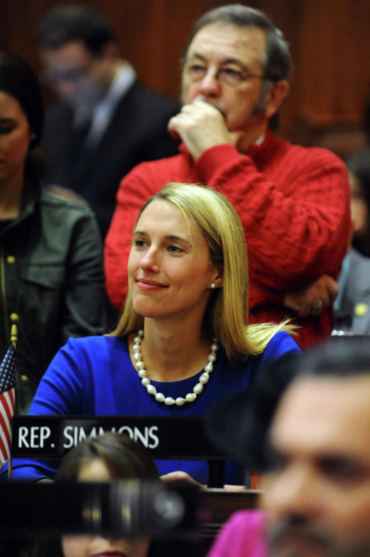 State Representative Caroline Simmons (D, Stamford) on the opening day of the 2017 legislative session at the Capital in Hartford, Conn. on Wednesday, Jan. 4, 2017.
