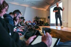 CEO Drew Houston reveals Dropbox's new business products in San Francisco, Calif. on Monday, January 30, 2017.