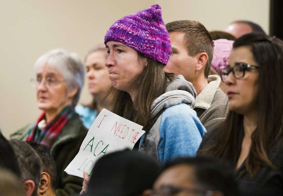 Lacy Bauer of Carmichael attends a town hall meeting held by Rep. Ami Bera at Elk Grove City Hall over concerns about repealing the Affordable Care Act. Photo: Autumn Payne, Associated Press