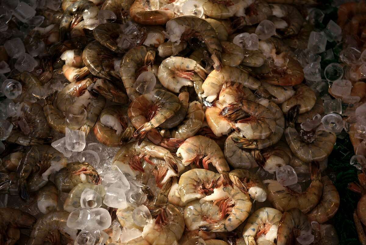 (FILES) This file photo taken on April 20, 2016 shows shrimp for sale at the Maine Avenue Fish Market in Washington, DC.
