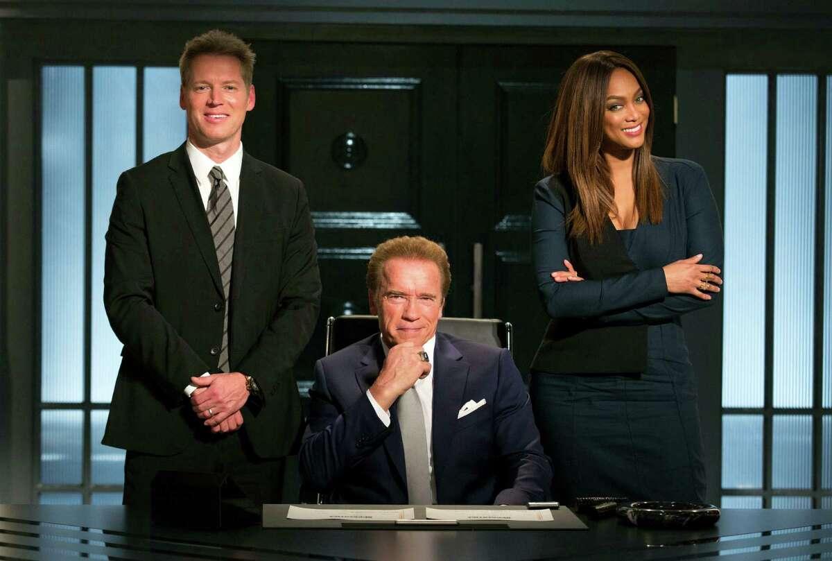 Patrick Knapp Schwarzenegger, Arnold Schwarzenegger and Tyra Banks from