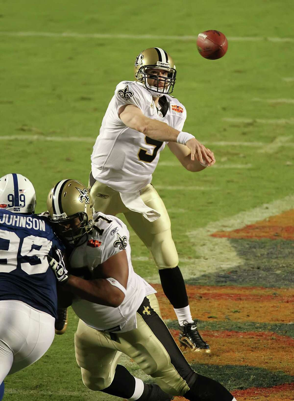 New Orleans Saints' Drew Brees was named the game's MVP as the New Orleans Saints beat the Indianapolis Colts 31-17, Sunday, February 7, 2010 in Super Bowl XLIV at Sun Life Stadium in Miami Gardens, Florida. (Terry Gilliam/MCT)