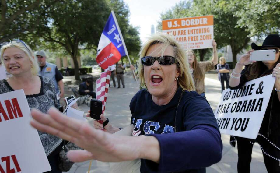 Hecklers yell to disrupt the annual Texas Muslim Capitol Day gathering in Austin in 2015. Photo: Eric Gay /Associated Press / AP