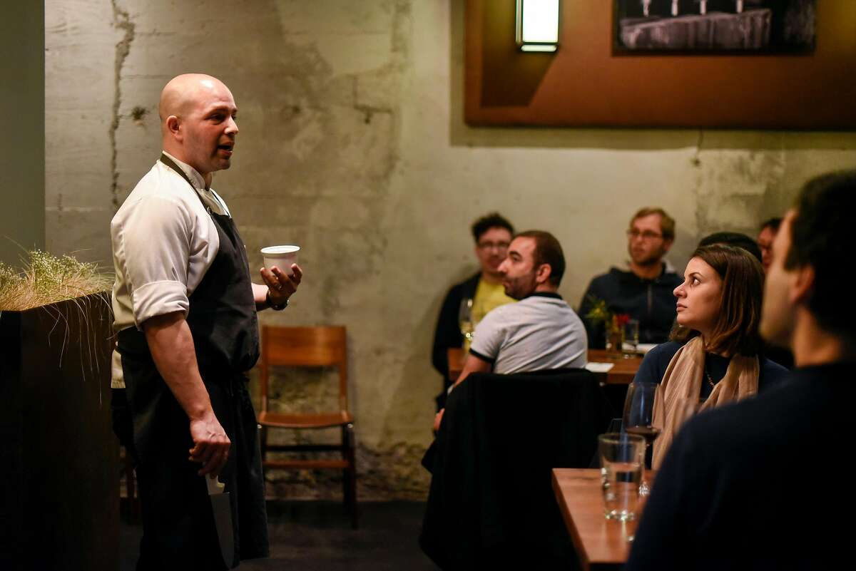 """Chef Sayat Ozyilmaz talk to guests about what he and his wife, chef Laura Ozyilmaz, will be serving during their pop-up restaurant """"Istanbul Modern"""" in San Francisco, CA on Sunday, January 29, 2017."""