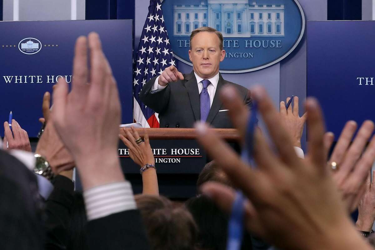 WASHINGTON, DC - JANUARY 30: White House Press Secretary Sean Spicer reacts to reporters' questions in the Brady Press Briefing Room at the White House January 30, 2017 in Washington, DC. U.S. President Donald Trump announced Monday that he will reveal his 'unbelievably highly respected' pick to replace the late Supreme Court Antonin Scalia on Tuesday evening. (Photo by Chip Somodevilla/Getty Images)