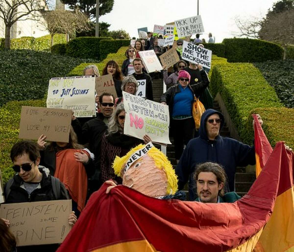 200 demonstrators descended on dianne feinstein s house to protest her support for trump s nominees 200 demonstrators descended on dianne