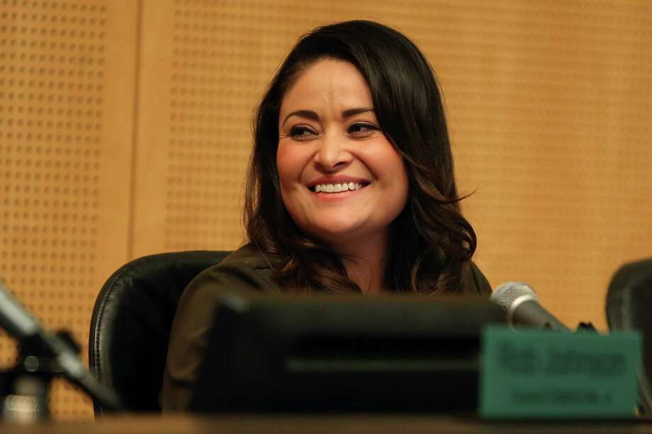 """Seattle city councilmember Lorena Gonzalez announces the """"Welcoming City"""" resolution which formally reaffirms Seattle's """"don't ask, don't collect"""" policy with regard to immigration status and the city's pledge to not commit resources to helping with deportations, all in the name of being a """"welcoming city that promotes policies and programs to foster inclusion for all,"""" during a Seattle City Council meeting, Monday afternoon. Photo: SEATTLEPI.COM / GENNA MARTIN, SEATTLEPI.COM"""
