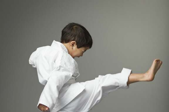 Boy doing martial arts