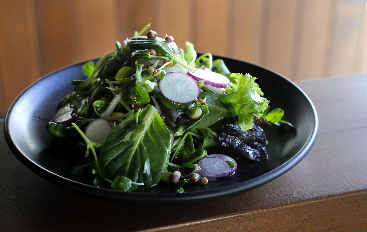 Market Salad, mixes greens, sprouted peas and heirloom radishes as prepared by executive chef and co-owner Yang Peng, as crews put the finishing touches on the soon to open Wolf restaurant, in Oakland, Ca., on Monday Jan. 30, 2017.