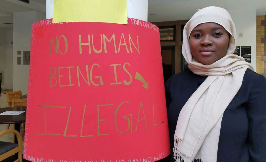 Kayouma Ouykepdjo, a pychology major at Russell Sage College in Troy, said she is worried and frightened by President Donald Trump's travel ban targeting refugees and residents from seven largely Muslim countries. (Chris Churchill / Times Union)
