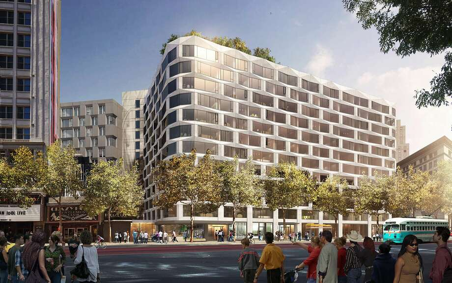 Rendering of the proposed commercian-condominium project at 950 Market St. in San Francisco Photo: Handel Architects