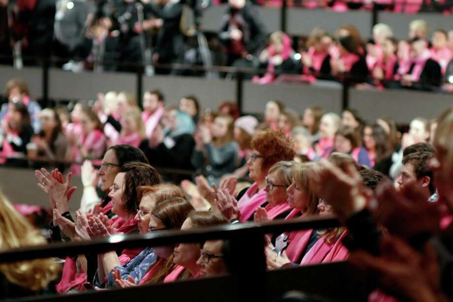 Women and men applaud a speaker at a rally held by reproductive health and rights patients, advocates and supporters from around the state at the Empire State Plaza Convention Center on Monday, Jan. 30, 2017, in Albany, N.Y.  (Paul Buckowski / Times Union) Photo: PAUL BUCKOWSKI / 20039560A