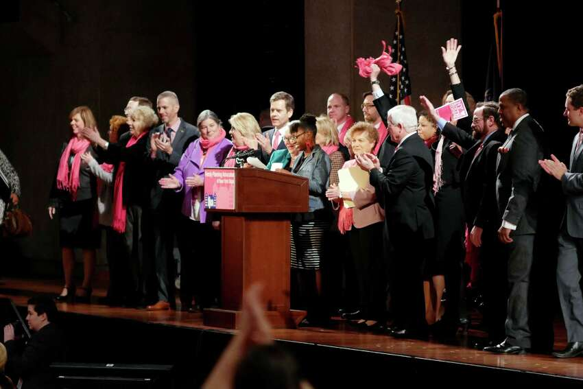 Legislators who support Planned Parenthood are introduced on stage at a rally held by reproductive health and rights patients, advocates and supporters from around the state at the Empire State Plaza Convention Center on Monday, Jan. 30, 2017, in Albany, N.Y. (Paul Buckowski / Times Union)
