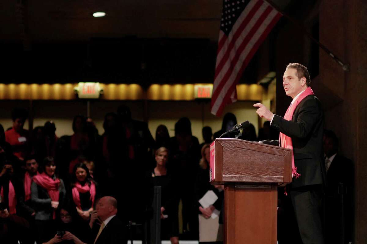 Governor Andrew Cuomo addresses those gathered at a rally held by reproductive health and rights patients, advocates and supporters from around the state at the Empire State Plaza Convention Center on Monday, Jan. 30, 2017, in Albany, N.Y. (Paul Buckowski / Times Union)