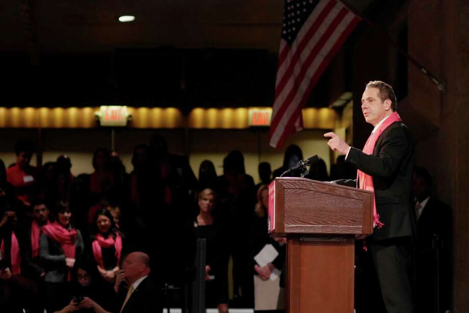 Governor Andrew Cuomo addresses those gathered at a rally held by reproductive health and rights patients, advocates and supporters from around the state at the Empire State Plaza Convention Center on Monday, Jan. 30, 2017, in Albany, N.Y.  (Paul Buckowski / Times Union) Photo: PAUL BUCKOWSKI / 20039560A