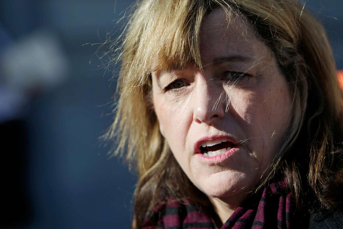 Vicki Hennessy, sheriff elect, answers questions from the media outside of City Hall on Monday, December 14, 2015 in San Francisco, Calif.