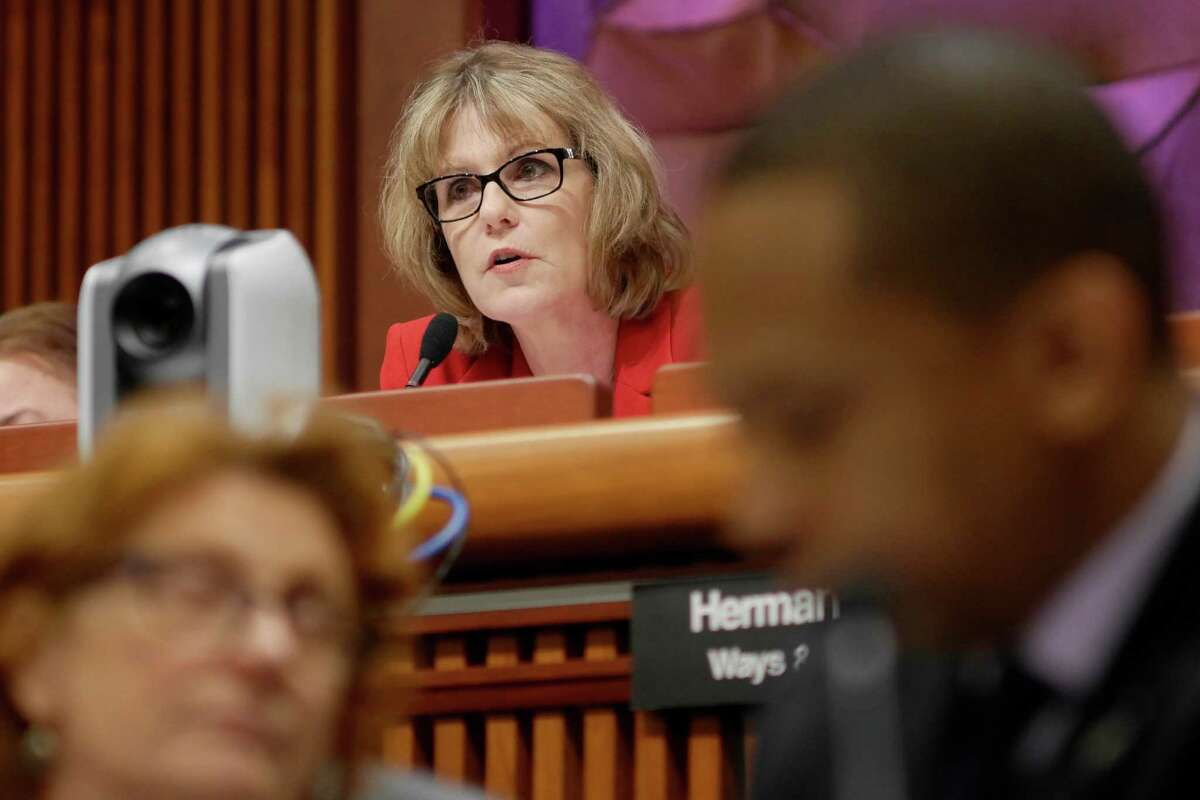 FILE - Senator Catharine Young, chair of the Finance Committee, questions New York City Mayor Bill de Blasio during the New York State Legislature joint budget hearing on Monday, January 30, 2017, in Albany, N.Y. (Paul Buckowski / Times Union)