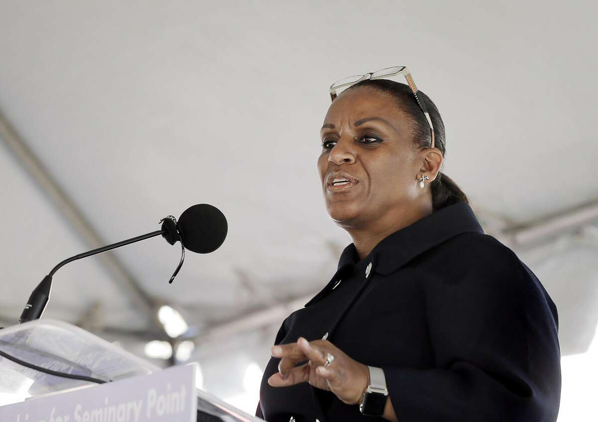 Oakland City Councilmember Desley Brooks talks about the 17 years the project took to bring to fruition during a groundbreaking ceremony for Seminary Point, a public private partnership at Seminary Avenue and Foothill Blvd., that's been in the works for years in Oakland, Calif., on Monday, January 30, 2017. The retail center will bring much needed shopping options to east Oakland.