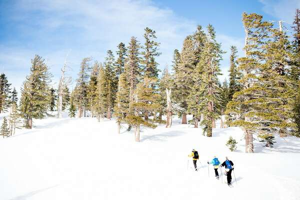 Expedition Kirkwood's Geoff Clarke, front, leads reporter Jill Robinson and husband Doug Connor on a backcountry ski lesson on Tuesday, Jan. 17, 2017 in Kirkwood, Calif.