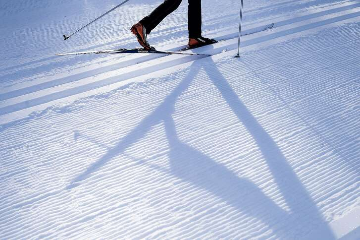 A cross country skier practices on a training track on Tuesday, Jan. 17, 2017 in Kirkwood, Calif.