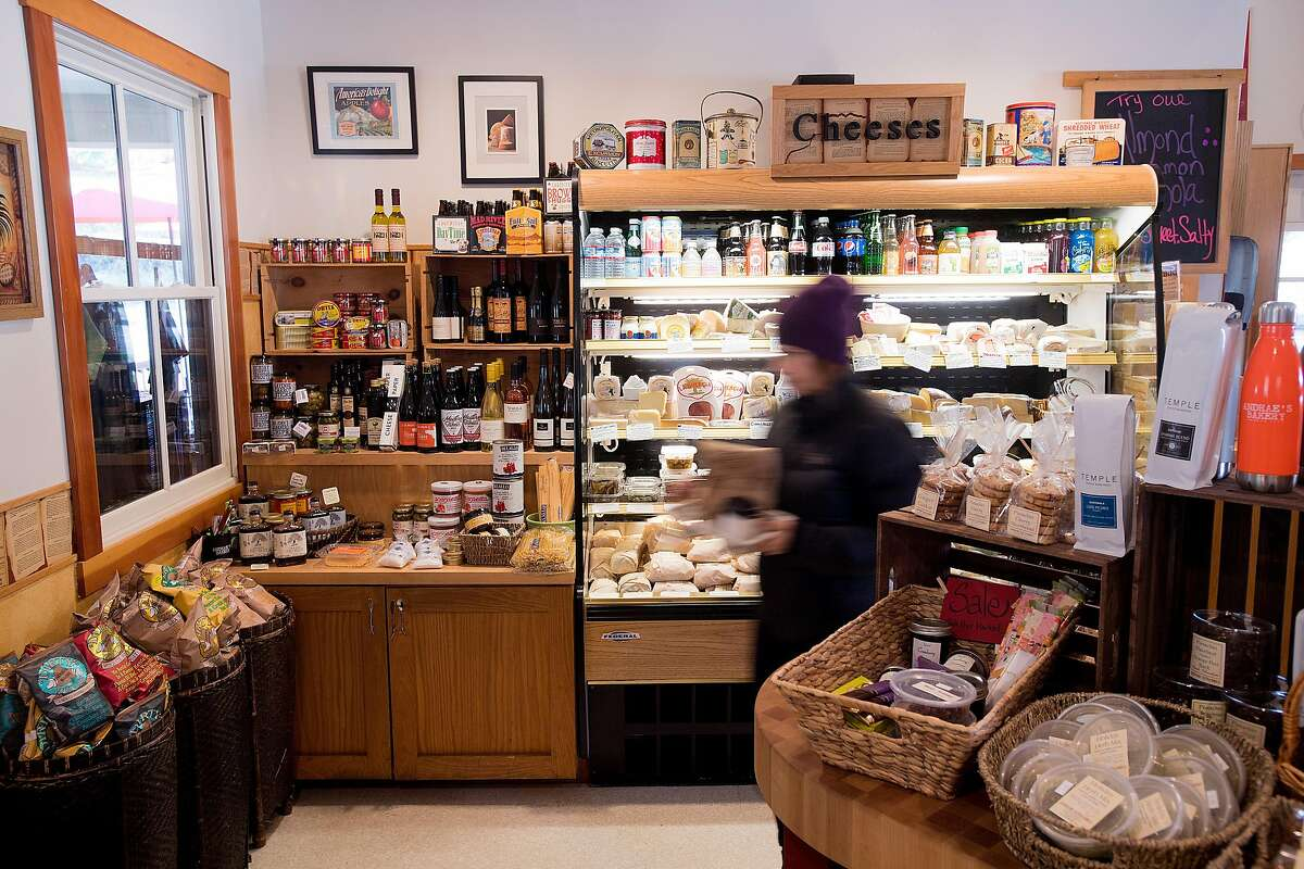 Cheese, wine and other beverages line shelves at Andrae�s Bakery in Amador City, Calif., on Saturday, Jan. 28, 2017.