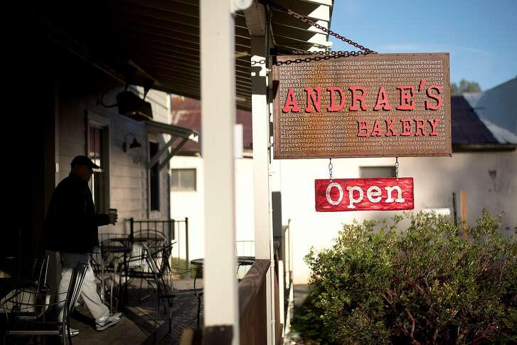 A patron leaves Andrae�s Bakery in Amador City, Calif., on Saturday, Jan. 28, 2017.