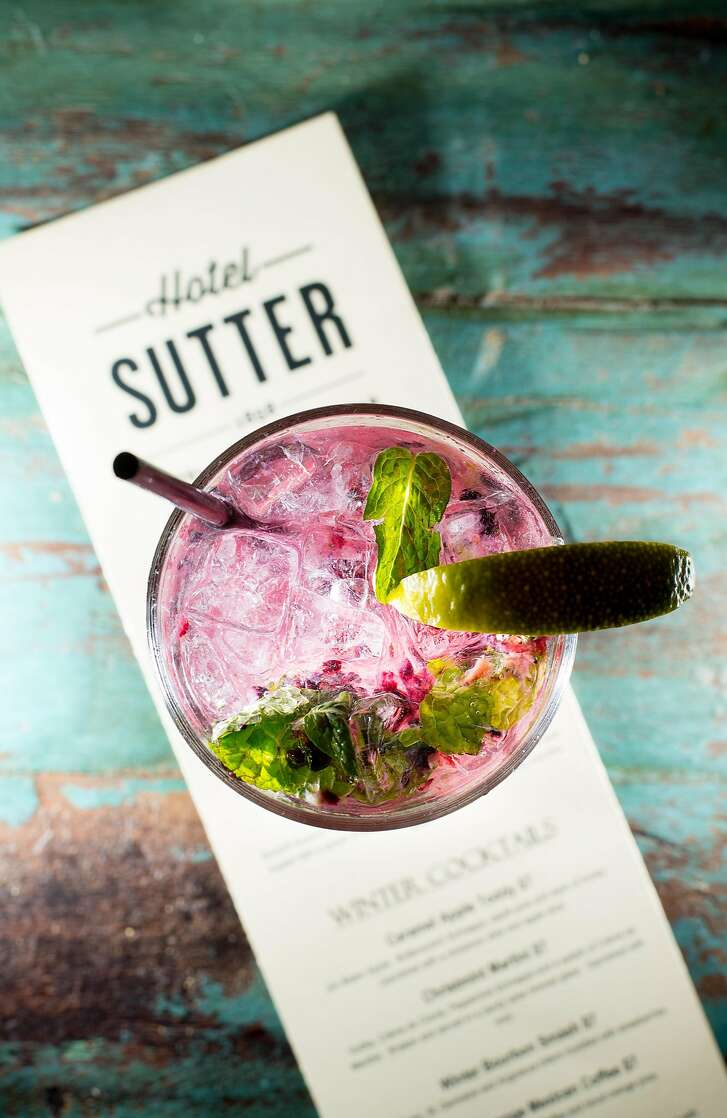 A blackberry mojito rests on a drink menu at Sutter Hotel in Sutter Creek, Calif., on Saturday, Jan. 28, 2017.