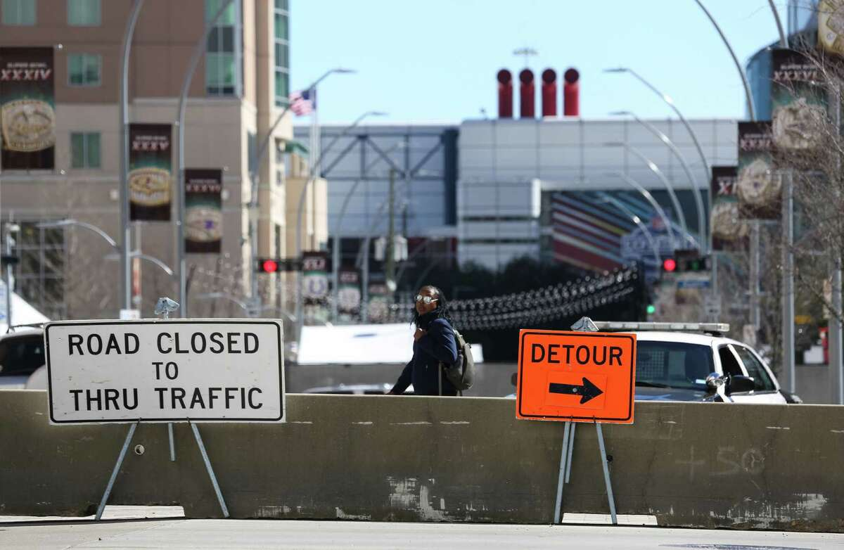 Eastbound of Dallas Street is closed for through traffic at Caroline, as seen Jan. 30.