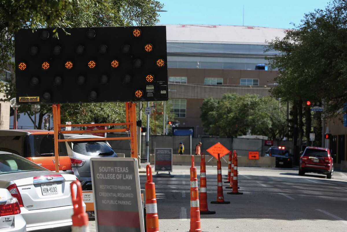 A temporary traffic sign is installed on Clay between San Jacinto and Caroline to direct traffic on Jan. 30 in advance of Super Bowl activities around Discovery Green.