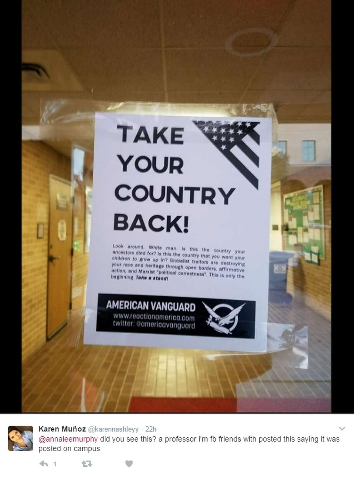 Texas State University officials are looking into a flier posted on campus in January 2017.