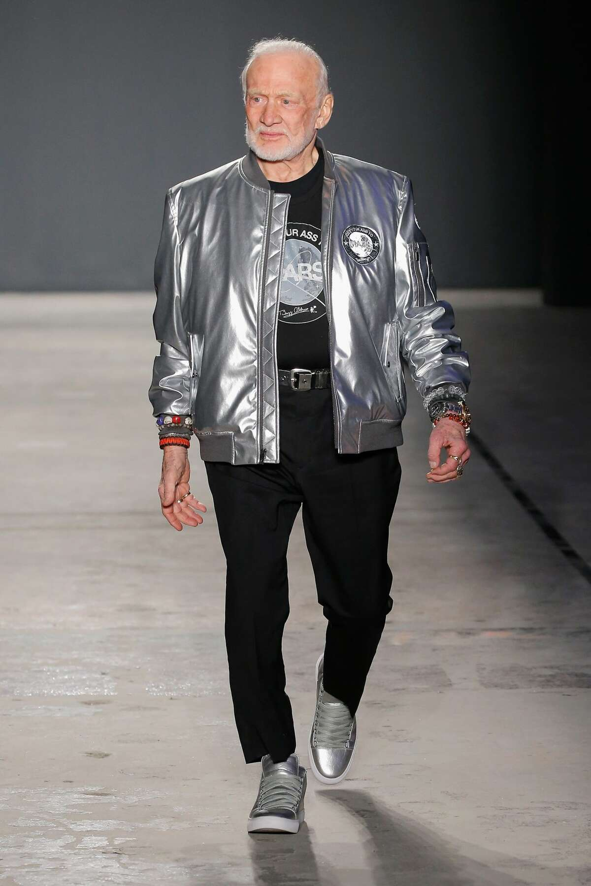 Buzz Aldrin walks the runway at the Nick Graham NYFW Men's F/W '17 show on January 31, 2017 in New York City.