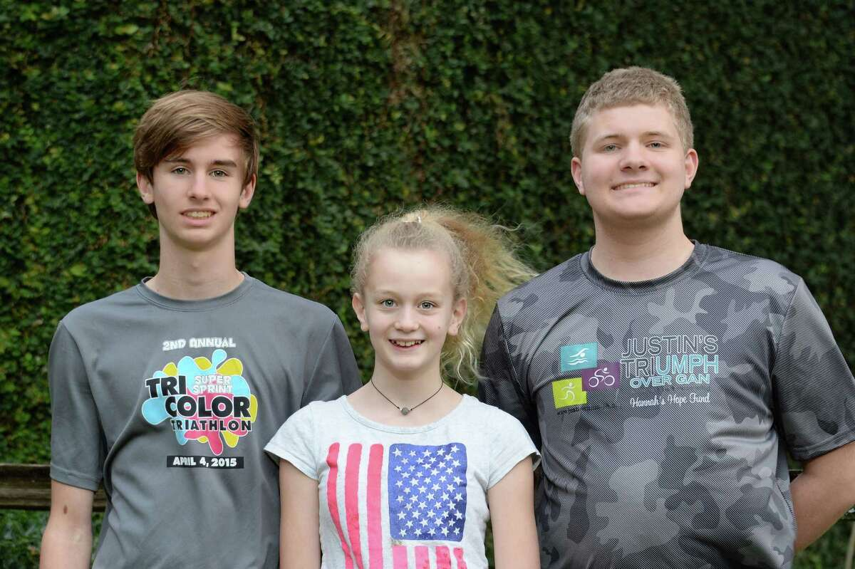 The Clark children outside their home in Bellaire, TX on Wednesday January 25, 2017. Pictured are (L-R) Jared, Lexi, and Justin Clark.