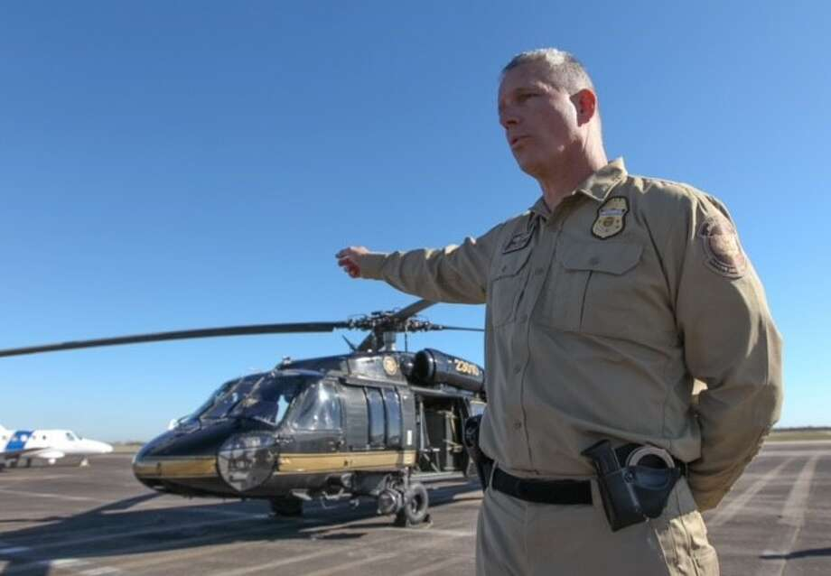 David Grantham, an air interdiction agent with Customs and Border Protection, briefed the media on air security at Ellington Field in preparation for the Super Bowl onTuesday, Jan. 31, 2017. (Steve Gonzales/ Chronicle)