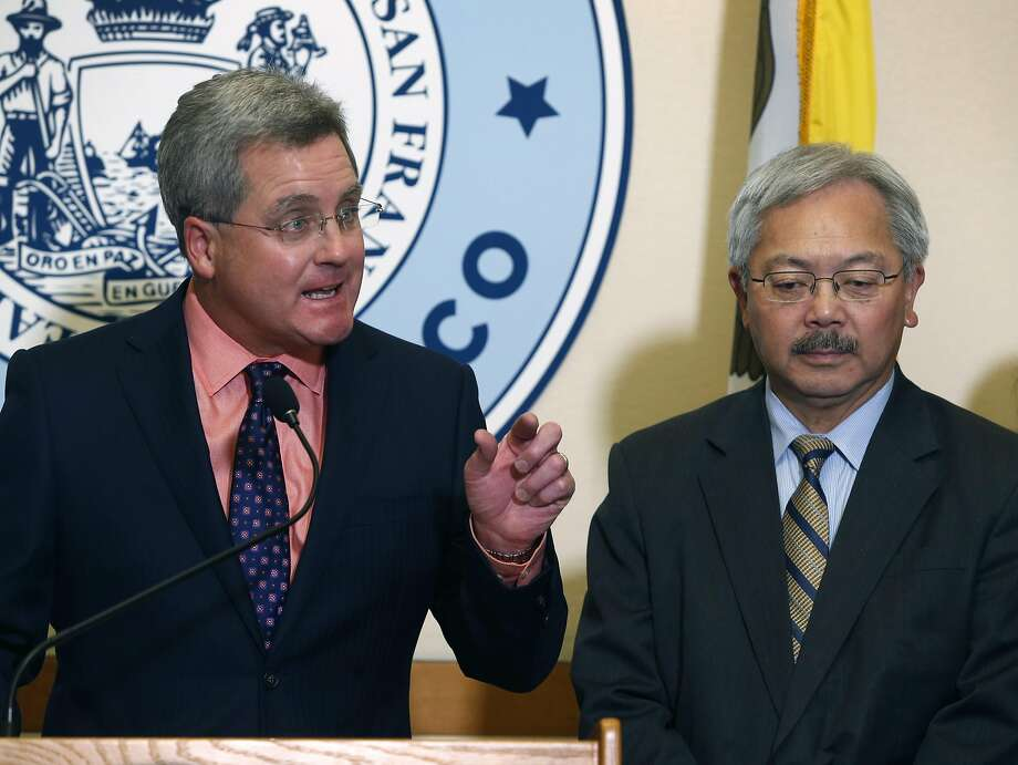 City Attorney Dennis Herrera and Mayor Ed Lee announce the filing of the lawsuit against President Trump's directive. Photo: Paul Chinn, The Chronicle